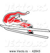 Vector of a Skiing Santa Leaping Through the Air by Zooco
