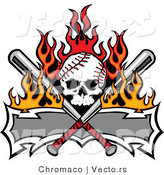 Vector of a Skull Shaped Baseball with Crossed Bats and a Blank Banner by Chromaco