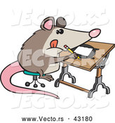 Vector of a Smart Cartoon Artist Possum Drawing by Toonaday