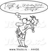 Vector of a Smart Cartoon Man Figuring a Math Equation in His Head - Coloring Page Outline by Toonaday