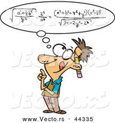 Vector of a Smart Cartoon Man Figuring out a Complicated Math Equation in His Head by Toonaday