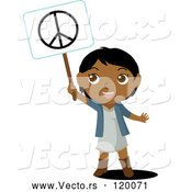 Vector of a Smiling Black Indian Kid Holding up a Peace Sign by Rosie Piter