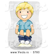 Vector of a Smiling Blond Boy Sitting on Toilet by BNP Design Studio