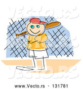 Vector of a Smiling Boy Playing Baseball, Standing at Home Base and Ready to Bat by Andy Nortnik
