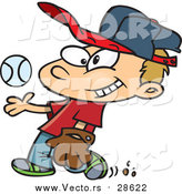 Vector of a Smiling Boy Tossing Baseball up While Walking Forward - Cartoon Style by Toonaday