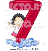 Vector of a Smiling Cartoon Asian School Girl with 7 Cups Beside the Number Seven by BNP Design Studio