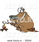 Vector of a Smiling Cartoon Bear Roasting a Marshmallow over a Campfire by Ron Leishman