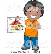 Vector of a Smiling Cartoon Black Boy Displaying a Drawing of His Family Home by BNP Design Studio