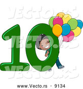 Vector of a Smiling Cartoon Black School Boy Holding 10 Balloons Beside the Number Ten by BNP Design Studio