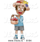 Vector of a Smiling Cartoon Black School Boy Holding a Basket Full of Red Apples by BNP Design Studio