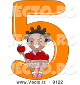 Vector of a Smiling Cartoon Black School Girl Holding 5 Apples While Sitting on the Number Five by BNP Design Studio