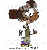 Vector of a Smiling Cartoon Black School Girl Wearing Science Lab Gear While Giving Thumb up Hand Gesture by Toonaday