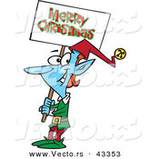 Vector of a Smiling Cartoon Blue Elf Carrying a Merry Christmas Sign by Toonaday