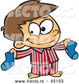 Vector of a Smiling Cartoon Boy Holding a Matching Pair of Socks by Toonaday