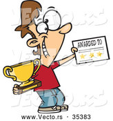 Vector of a Smiling Cartoon Boy Holding a Trophy and Certificate Reward by Toonaday