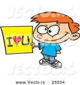 Vector of a Smiling Cartoon Boy Holding I Love You SIgn by Toonaday