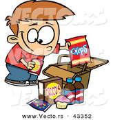 Vector of a Smiling Cartoon Boy Packing Junk Food in a Picnic Basket by Toonaday