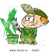 Vector of a Smiling Cartoon Boy Painting a Wall Green by Toonaday
