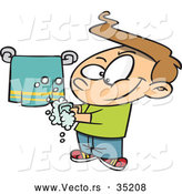 Vector of a Smiling Cartoon Boy Washing His Hands by Toonaday