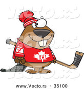 Vector of a Smiling Cartoon Canadian Hockey Beaver by Toonaday