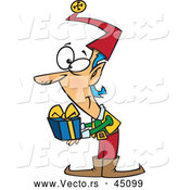 Vector of a Smiling Cartoon Christmas Elf Holding a Present by Toonaday
