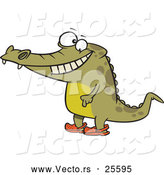 Vector of a Smiling Cartoon Crocodile Standing Upright While Wearing Crocs over His Feet by Toonaday