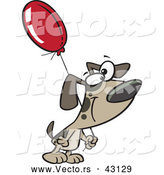 Vector of a Smiling Cartoon Dog Carrying a Birthday Balloon by Toonaday