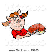 Vector of a Smiling Cartoon Female Pig Serving BBQ Ribs on a Tray by LaffToon