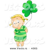 Vector of a Smiling Cartoon Girl Holding Green Clover Helium Balloon by BNP Design Studio