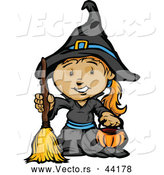 Vector of a Smiling Cartoon Girl Witch Holding a Pumpkin Container and Broom by Chromaco