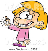Vector of a Smiling Cartoon Girl with Missing Teeth Showing a Coin She Got from the Tooth Fairy by Toonaday