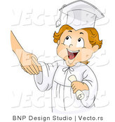 Vector of a Smiling Cartoon Graduating Boy Shaking Teacher's Hand by BNP Design Studio