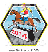 Vector of a Smiling Cartoon Jockey Jumping a Horse over a 2014 Bar by Patrimonio