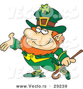 Vector of a Smiling Cartoon Leprechaun Presenting Stance by Ron Leishman