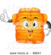 Vector of a Smiling Cartoon Life Jacket Mascot Holding a Thumb up by BNP Design Studio