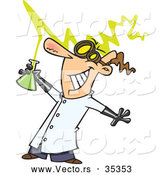 Vector of a Smiling Cartoon Mad Scientist Holding a Beaker by Toonaday