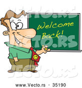 Vector of a Smiling Cartoon Male Teacher Writing 'Welcome Back!' on a Chalkboard by Toonaday