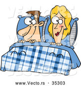 Vector of a Smiling Cartoon Man and Woman Laying in Bed by Toonaday