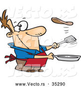 Vector of a Smiling Cartoon Man Flipping a Flapjack with a Spatula While Holding a Pan by Toonaday