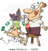 Vector of a Smiling Cartoon Man Standing on a Stool and Shaking Money Our of a Guy's Pockets by Ron Leishman