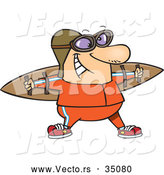 Vector of a Smiling Cartoon Man Wearing Wood Wings, Goggles, and a Helmet by Toonaday