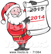 Vector of a Smiling Cartoon Santa Holding a 2014 Scroll by Patrimonio
