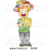 Vector of a Smiling Cartoon School Boy Holding a Bananas Flash Card and Wearing a Fruit Hat by BNP Design Studio