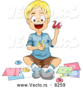 Vector of a Smiling Cartoon School Boy Making Origami Swans in Arts Class by BNP Design Studio