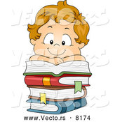 Vector of a Smiling Cartoon School Boy over a Pile of Stacked Books by BNP Design Studio