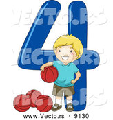 Vector of a Smiling Cartoon School Boy Standing with 4 Basketballs Beside the Number Four by BNP Design Studio