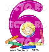 Vector of a Smiling Cartoon School Boy with 6 Crayons Beside the Number Six by BNP Design Studio