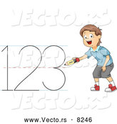 Vector of a Smiling Cartoon School Boy Writing '123' by BNP Design Studio