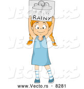 Vector of a Smiling Cartoon School Girl Holding a 'Rainy' Weather Poster by BNP Design Studio