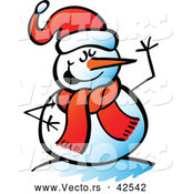 Vector of a Smiling Cartoon Snowman Waving by Zooco